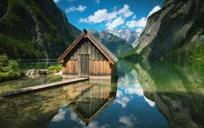 cabin, lake