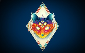 surreal, Matei Apostolescu, diamonds, artwork, cat, eyes