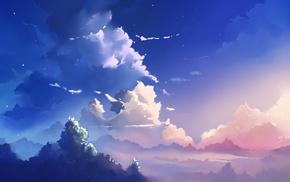 синий, небо, облака