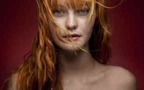 green eyes, hair in face, girl, portrait, Kacy Anne Hill, redhead