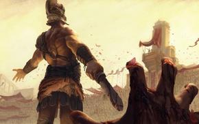 blood, gladiators, shirtless, sword, helmet, artwork