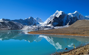 снег, горы, пейзаж, озеро