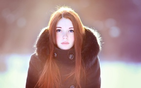 redhead, fur coats, girl, sunlight, blue eyes, simple background