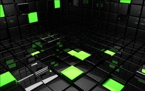 green, render, black, abstract, CGI
