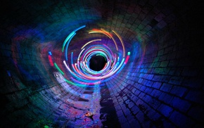 long exposure, sewers, light painting