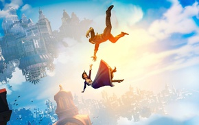 sky, falling, video games, BioShock, clouds