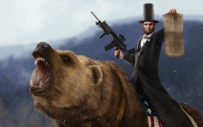 presidents, Abraham Lincoln, Rare, humor, weapon, bears