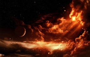 planet, clouds, space, space art
