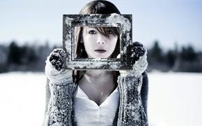снег, зима, девушка, перчатки, брюнетка