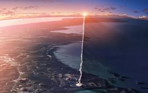 5 Centimeters Per Second, smoke, Makoto Shinkai, anime, rockets, movies
