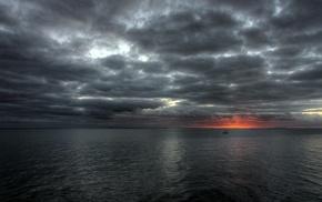 серый, море, облака