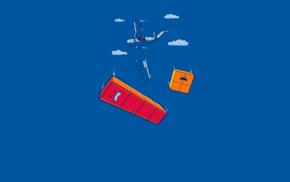 облака, самолет, синий