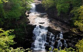 view, waterfall, nature