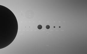 Solar System, planet, simple, minimalism