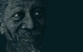 typographic portraits, typography, Morgan Freeman