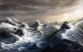 sea, storm, waves, artwork