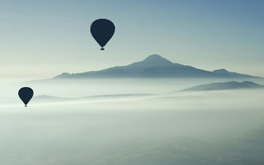 landscape, hot air balloons, mist