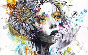 лицо, произведение искусства, девушка, рука, картина