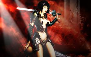 воин, меч, девушка, фэнтези