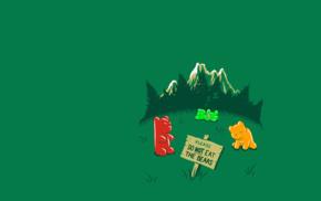 минимализм, горы, природа, зеленый, юмор