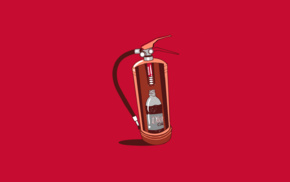 Coca, Cola, Mentos, minimalism, fire extinguishers, humor