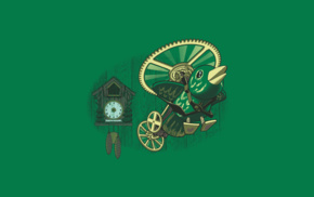 birds, clocks, green