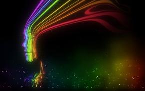 face, colorful, artwork, lights