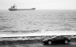 cars, black, ocean, auto