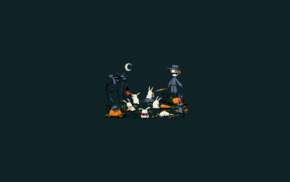 rabbits, carrots, dark, scarecrows, minimalism, Halloween