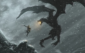 video games, dovahkiin, dragonborn, dragon, The Elder Scrolls V Skyrim, Alduin