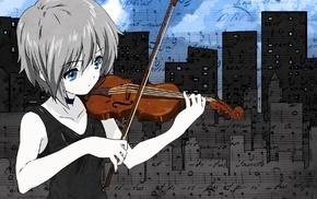 Nagato Yuki, The Melancholy of Haruhi Suzumiya, violin, anime girls, anime