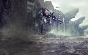 Pacific Rim, robot, rain