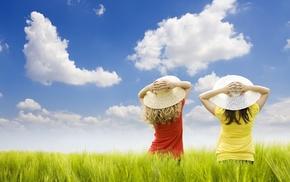 children, sky, grass, field