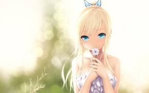 девушки из аниме, хвостик, произведение искусства, длинные волосы, голубые глаза