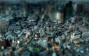 Tokyo, tilt shift, Japan, cityscape