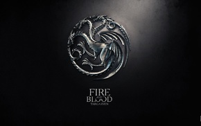 fire, Game of Thrones, logo, digital art, House Targaryen, sigils