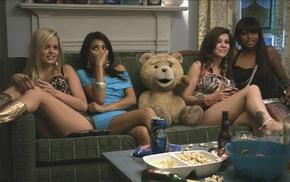 teddy bears, Ted movie, brunette, legs, blonde, beer