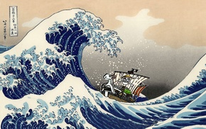 One Piece, The Great Wave off Kanagawa, waves, Hokusai, Monkey D. Luffy