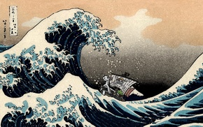 The Great Wave off Kanagawa, Monkey D. Luffy, One Piece, Hokusai, waves