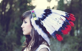 headdress, brunette, Native Americans