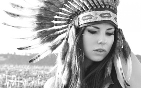 headdress, monochrome, Native Americans