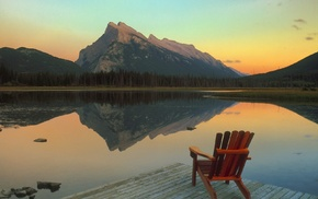 озеро, отражение, Канада, горы