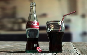 Coca, Cola, bottles, drink, wooden surface