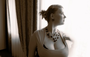 boobs, sepia, portrait