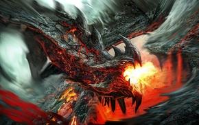 rock, dragon, fire