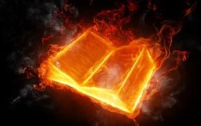 fire, light, 3D, smoke, book