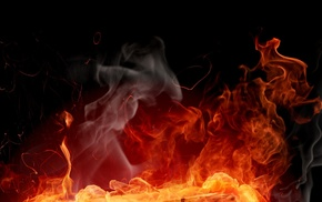 flame, night, 3D, fire, smoke