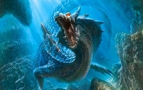 dragon, shark, sea, water, Monster Hunter, Lagiacrus