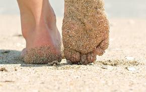 песок, босиком, ноги