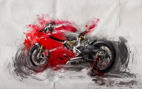 Ducati, paper, red, brush